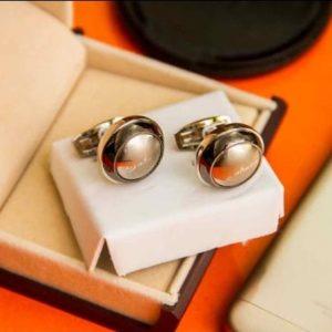 men's cufflinks Circle silver