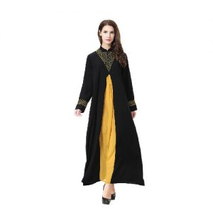 Black and yellow abaya-01