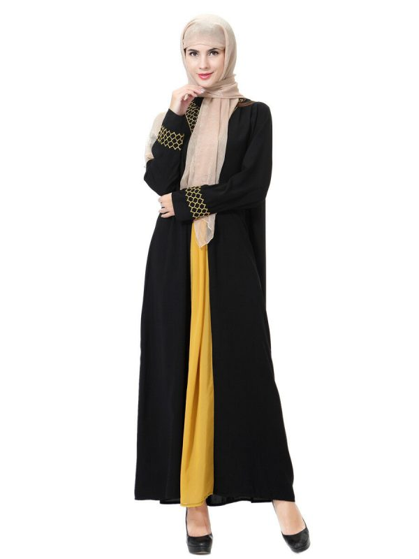 Black and yellow abaya-01