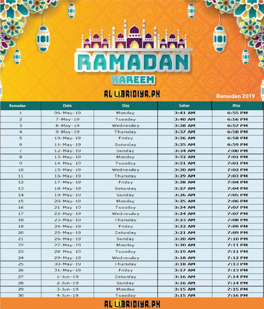 Ramadan Calender 2019
